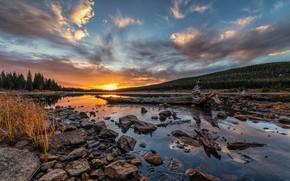 Картинка закат, озеро, камни, США, Brainard Lake