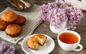 Картинка цветы, фон, дерево, чай, весна, сирень, кекс