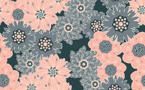 Картинка цветы, серый, фон, узор, бесшовный