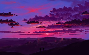 Картинка twilight, sky, landscape, sunset, art, mountains, clouds, artist, digital art, artwork, silhouette, trekking, BisBiswas
