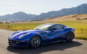 Картинка дорога, синий, спорткар, Gran Turismo, Ferrari F12 TDF