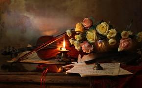 Картинка цветы, стиль, ноты, перо, скрипка, розы, свеча