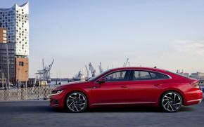 Картинка красный, Volkswagen, в профиль, R-Line, лифтбэк, 2020, Arteon