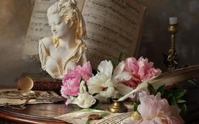Картинка цветы, ноты, перо, часы, свеча, столик, бюст, подсвечник, пионы, Андрей Морозов