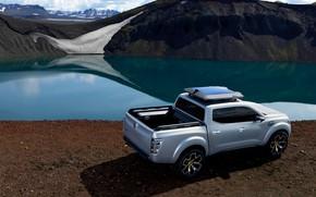 Картинка снег, серебристый, Renault, пикап, водоём, 2015, Alaskan Concept
