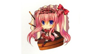 Картинка белый фон, бантики, синие глаза, розовые волосы, большие глаза, чибик, шоколадный десерт, Lilia Chocolanne, by …