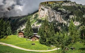 Картинка дорога, зелень, лес, трава, солнце, облака, деревья, горы, скалы, Франция, луг, домики, Allamont