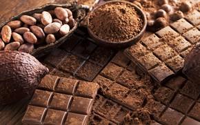 Картинка шоколад, сладкое, chocolate, sweet, какао, бобы
