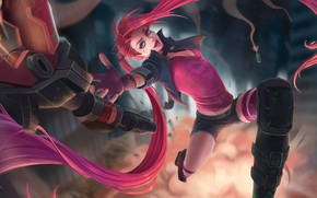 Картинка Pink, Girl, Fantasy, Art, Style, League of Legends, Background, Illustration, LoL, Jinx, Figure, Character, Mignon …