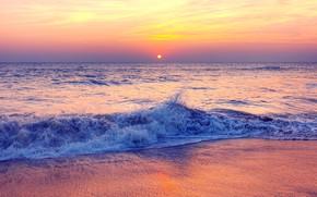Обои песок, море, волны, пляж, лето, закат, summer, beach, sea, sunset, pink, seascape, beautiful, sand, wave, ...