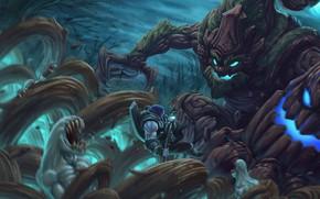 Картинка монстр, битва, League Of Legends, Yorick, Maokai