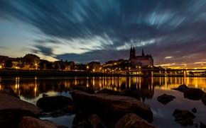 Картинка огни, вечер, Германия, Meissen