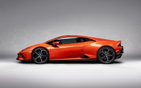 Картинка машина, Lamborghini, спортивная, диски, вид сбоку, Evo, Huracan