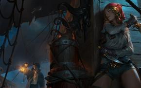 Картинка девушка, ночь, корабль, пираты, палуба, в засаде, часовой, Bilgewater, Legends of Runeterra