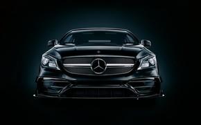 Картинка Авто, Черный, Машина, Mercedes, Фары, Car, Art, Render, Design, AMG, Black, Передок, Transport & Vehicles, …