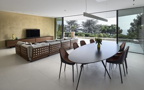 Картинка интерьер, гостиная, столовая, Villa la Madonne, by Calvi Ceschia Vigano Architett