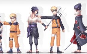 Картинка аниме, арт, Naruto, Саске Учиха, Наруто Узумаки, Разные