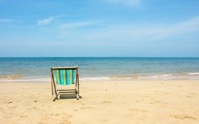 Картинка песок, море, волны, пляж, лето, шезлонг, summer, beach, sea, blue, seascape, sand, wave