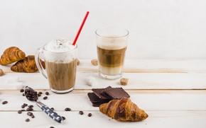 Картинка кофе, завтрак, Круассан, взбитые сливки