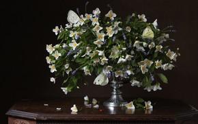 Картинка цветы, темный фон, букет, натюрморт