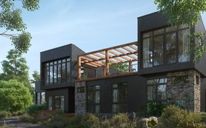 Картинка дорога, дизайн, растительность, строение, Pavilion house