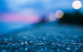 Картинка пляж, вода, огни, земля, берег, вечер, abstract, blue, macro, blur, bokeh, concrete, ground