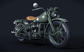 Картинка США, Вторая Мировая война, Harley Davidson WLA 1942, Армейский мотоцикл