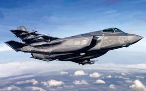 Картинка США, истребитель-бомбардировщик, F-35, Lockheed Martin, F-35 Lightning II, US Airforce
