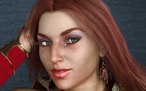 Картинка девушка, макияж, рыжая