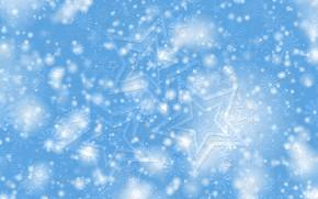 Картинка зима, звезды, снег, снежинки, узор, звезда, текстура, Рождество, Новый год, снегопад, голубой фон