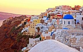 Картинка здания, дома, Санторини, Греция, церковь, Santorini, Oia, Greece