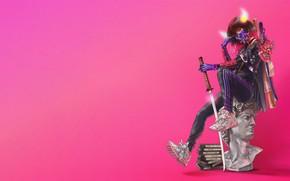 Картинка Минимализм, Стиль, Меч, Ниндзя, Самурай, Арт, Art, Бюст, Style, Давид, Катана, Ninja, Samurai, Illustration, Minimalism, …