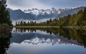 Картинка лес, горы, озеро, отражение, Новая Зеландия, New Zealand, Lake Matheson, Южные Альпы, Southern Alps, Озеро …