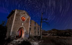 Картинка свет, ночь, дерево, руины, круговорот
