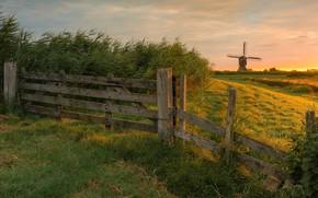 Картинка поле, забор, мельница