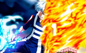 Картинка Тодороки Шото, My Hero Academia, Boku No Hero Academia, огонь, Моя Геройская Академия