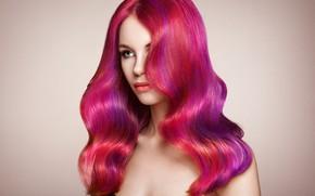 Картинка взгляд, девушка, лицо, волосы, портрет, розовые, Oleg Gekman