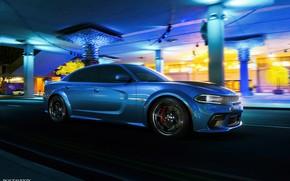 Картинка Авто, Синий, Машина, Dodge, Car, Автомобиль, Render, Dodge Charger, Hellcat, Рендеринг, SRT, Синий цвет, Dodge …
