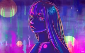 Картинка Девушка, Рисунок, Неон, Арт, Neon, by Danielle Stephens, Danielle Stephens