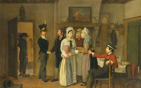 Картинка масло, картина, 1828, жанровая, Charles van Beveren, Прощание солдата, Чарльз ван Беверен