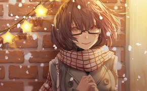 Картинка девушка, шарф, очки, За гранью