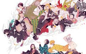 Картинка девушки, аниме, арт, парни, персонажи, Клинок Рассекающий Демонов