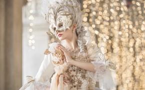 Картинка девушка, лицо, праздник, модель, маска, костюм, дворец, бал