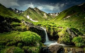 Картинка камни, холмы, Франция, водопад
