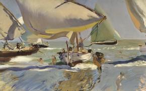 Картинка картина, парус, Хоакин Соролья, Joaquin Sorolla y Bastida, Лодки на Берегу
