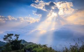 Картинка облака, лучи, пейзаж, природа, красота