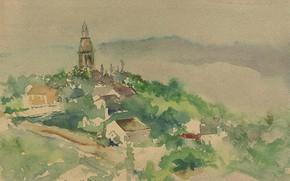 Картинка рисунок, акварель, 1892, Теодор Робинсон, Деревенская сцена, Theodore Robinson