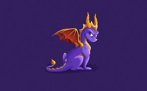 Картинка Минимализм, Дракон, Игра, Fantasy, Арт, Creatures, Game Art, Spyro, Spyro the Dragon, Спайро, Lauren Scott, …
