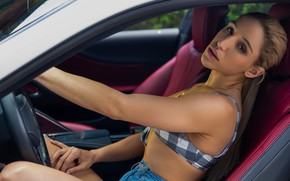 Картинка car, woman, young, beautiful, model, look, pose, sports, Abella Danger, big car