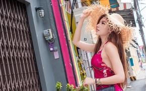 Картинка девушка, шляпа, платье, азиатка, милашка